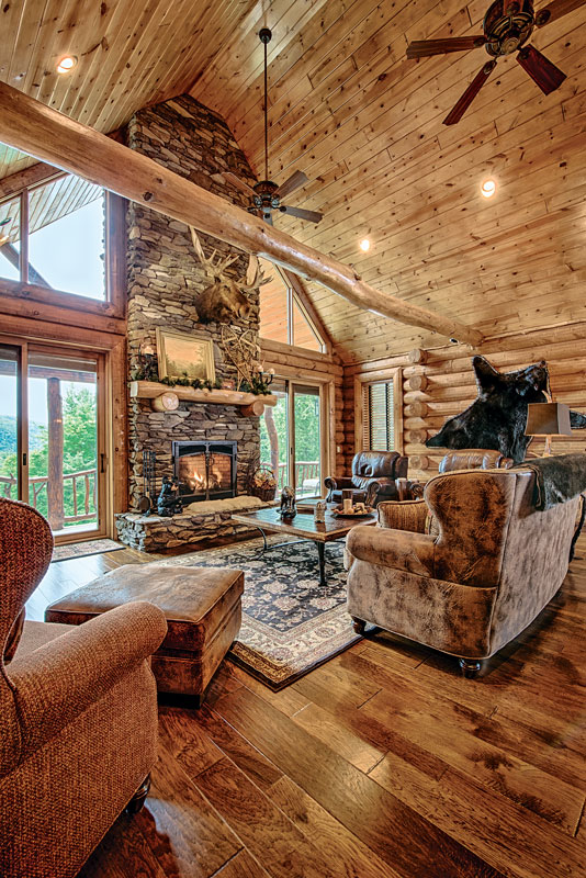 A mountain log home in new hampshire for Log home interior designs