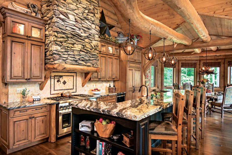 A mountain log home in new hampshire for Custom luxury log homes
