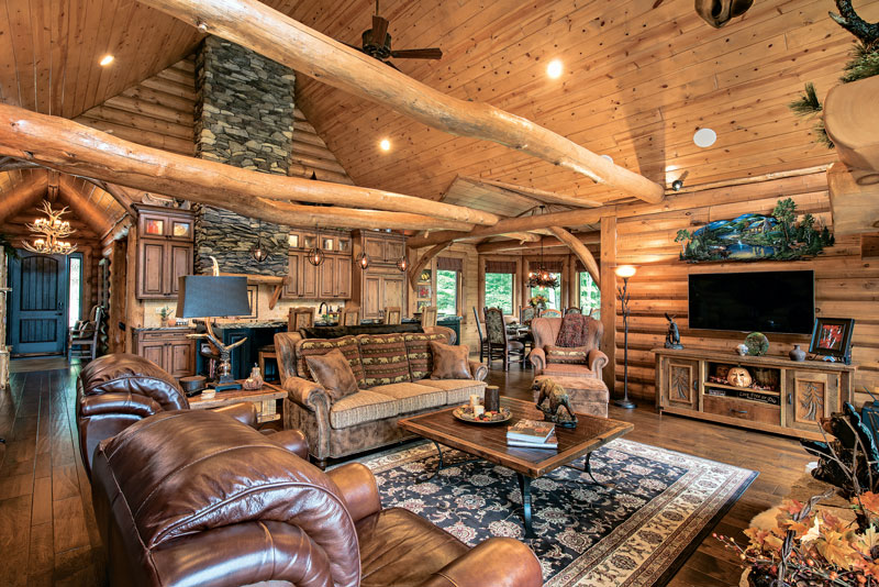 a mountain log home in new hampshire. Black Bedroom Furniture Sets. Home Design Ideas