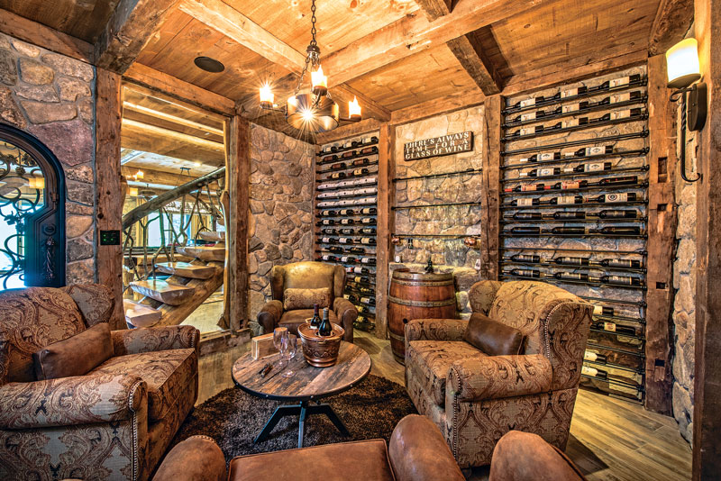 log home wine cellars