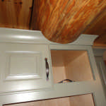 log home kitchen cabinets beam