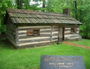 A replica of the cabin that served as James Garfield's birthplace stands today in TK. Photo courtesy of PresidentsUSA.net.