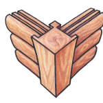 Corner post. A post is found at each corner into which grooves are cut to hold log ends. Looks similar to post-and-beam construction.