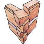 This style is used with square or rectangular logs. The corner is cut in a fan-shaped wedge and interlocks with perpendicular logs.