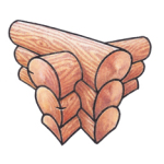 Saddle-notch. A notch on the bottom of the log straddles the top of the log coming from the perpendicular wall. Both logs extend past the corner.