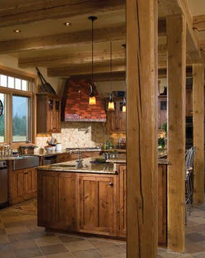 Kitchen Island Post timber-frame-home-post-and-beam-rustic-kitchen-island-with-granite