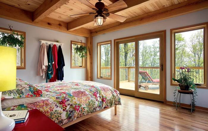 Small Timber Home Bedroom