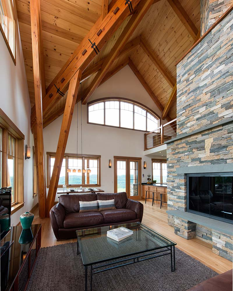 Vermont Timber Home Living Room