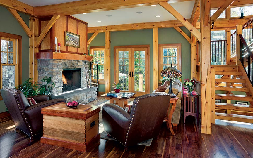 A Neutral Hue Like This Sage Green Is A Natural Choice For A Timber Home.