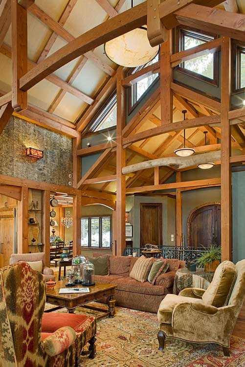 11 dreamy spaces from our most pinned homes timber home for Timber frame great room