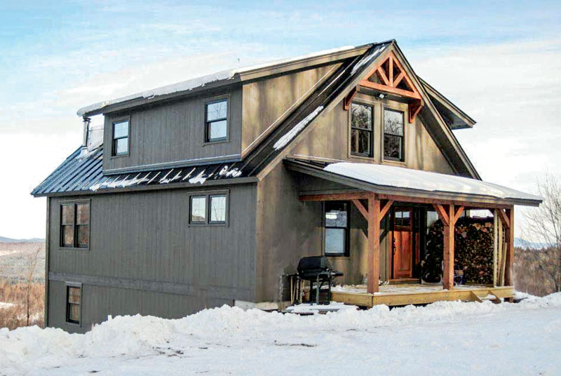 A simple timber frame retreat in the mountains timber for A frame mountain house plans