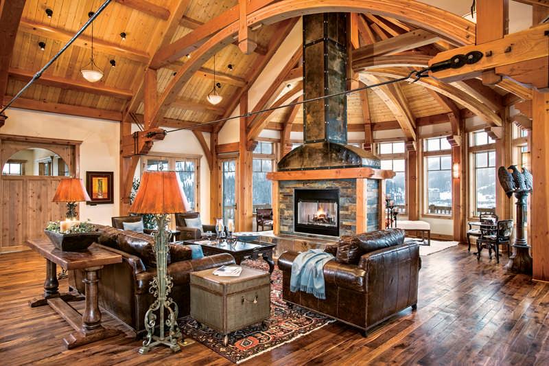 Lighting options for your timber frame home for Timber frame home interiors
