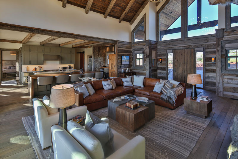 A ranch style timber home is a big sky beauty for Lucky 4 ranch floor plan