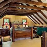 The cabin's second floor accommodates the master bedroom and bathroom. The Donelsons feel that all the furniture pieces they had collected over the years were just waiting to find a permanent home in this cabin.