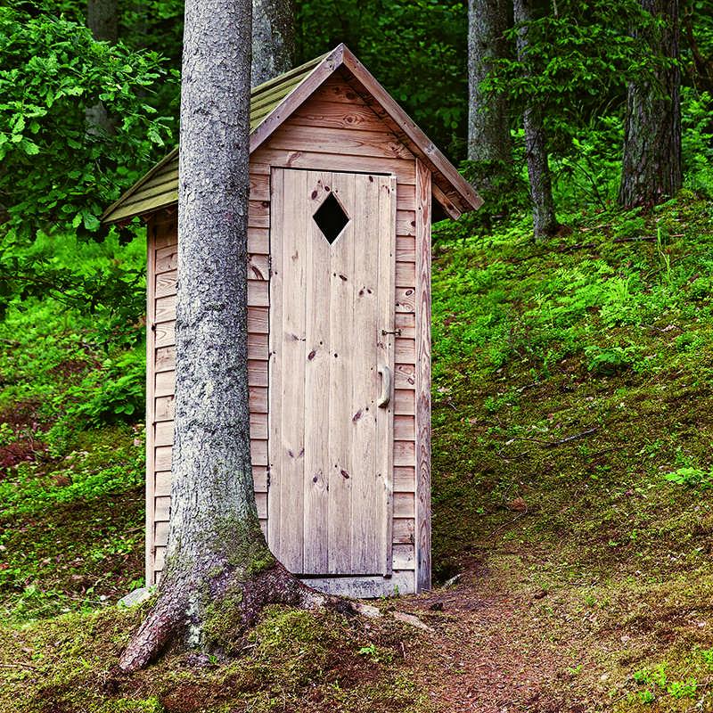 Wooden outdoors toilet