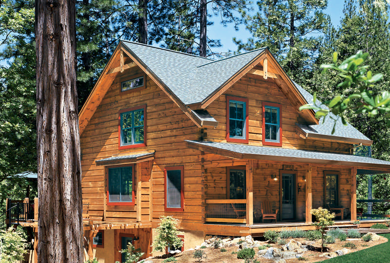 Different types of cabins for 5 structural types of log homes